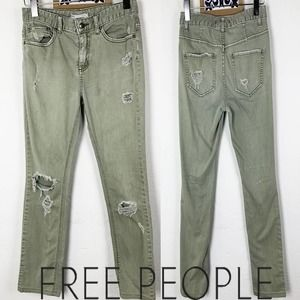 Free People Distressed  green skinny